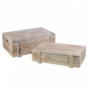 Scatola legno 1-2 sbiancato rettangolare cm50x33,5h18