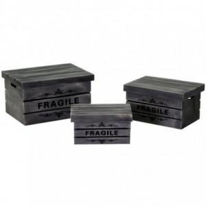 Scatola legno 1-3 grigio fragile rettangolare cm42x31h24