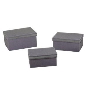Scatola tessuto 1-3 grigio e argento rettangolare cm42x30h20