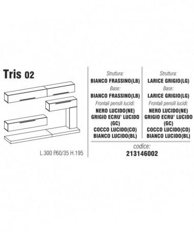 Composizione soggiorno Tris 02