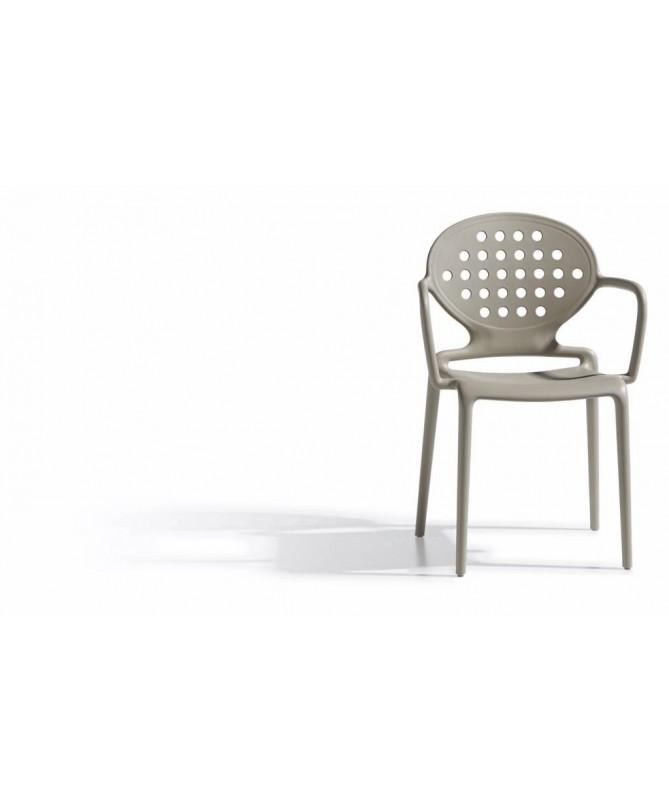 Sedia con braccioli in tecnopolimero rinforzato Colette Made in Italy - set da 4