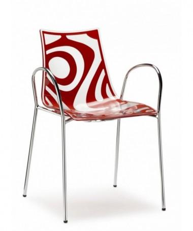 Sedia con braccioli in tecnopolimero stampato Wave Made in Italy - set da 2