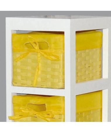 Cassettiera Lisa in legno e stoffa con 4 cassetti