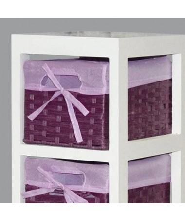 Cassettiera Lisa in legno e stoffa con 5 cassetti