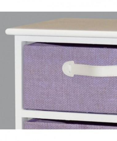 Cassettiera Iris in legno e stoffa con 3 cassetti