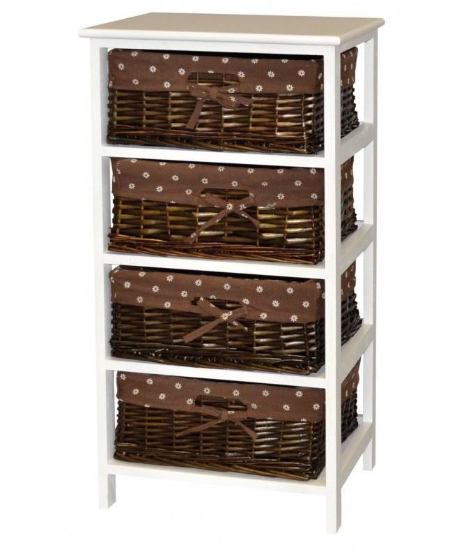 Cassettiera Cleo in legno e vimini con 4 cassetti