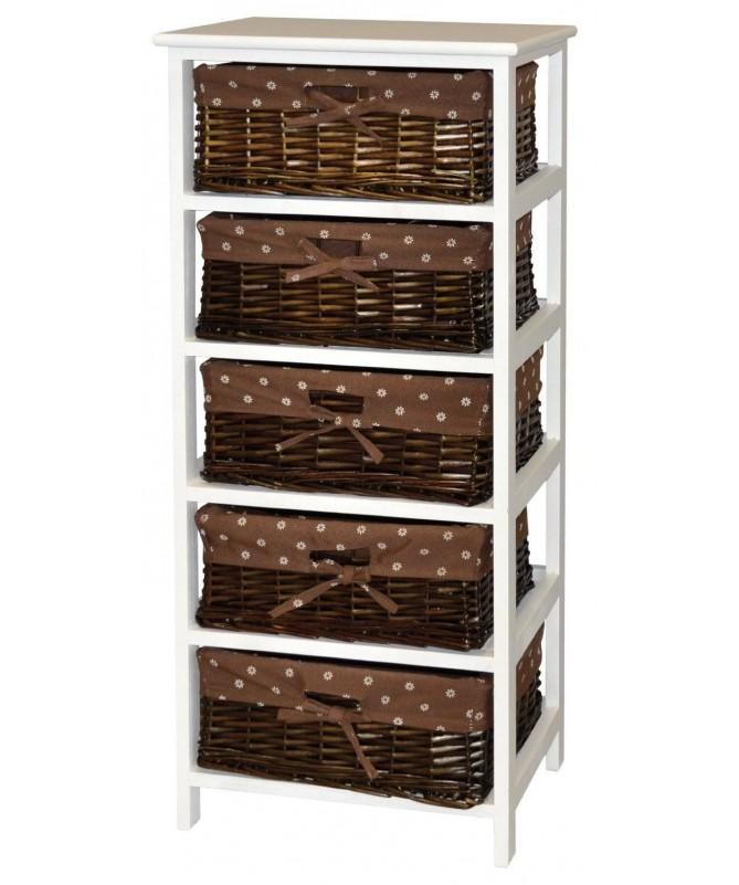 Cassettiera Cleo in legno e vimini con 5 cassetti