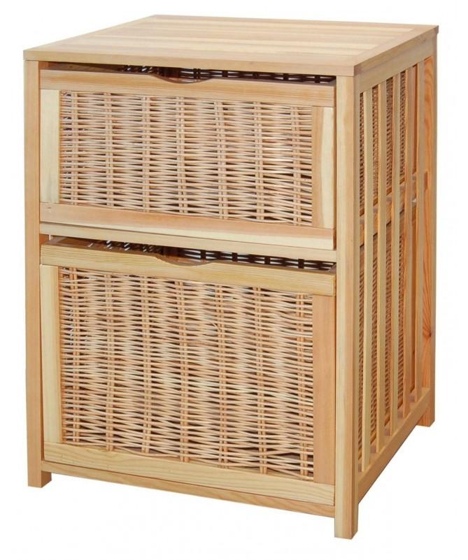 Cassettiera Giada in legno e vimini con 2 cassetti