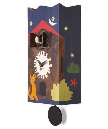 Orologio con cucù Sorrento in legno con essenze pregiate con strass Made in Italy