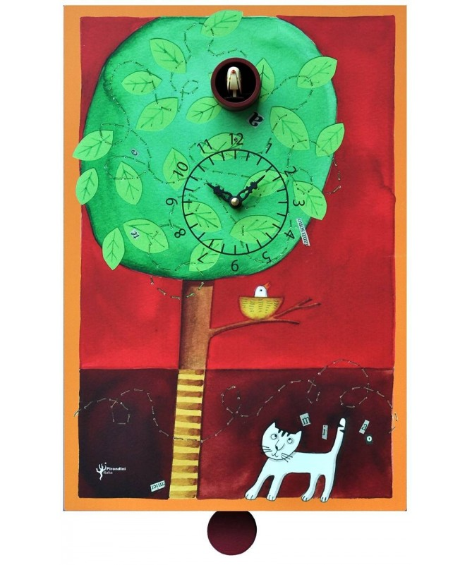 Orologio con cucù Sul Ramo stampa su mdf Made in Italy