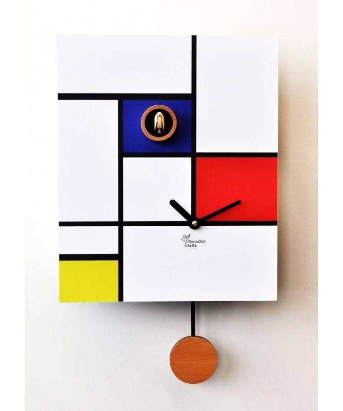 Orologio con cucù Around Mondrian stampa su mdf Made in Italy