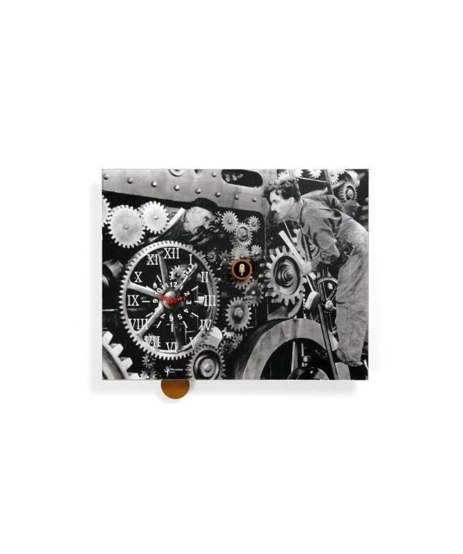 Orologio con cucù Charlot stampa su mdf Made in Italy
