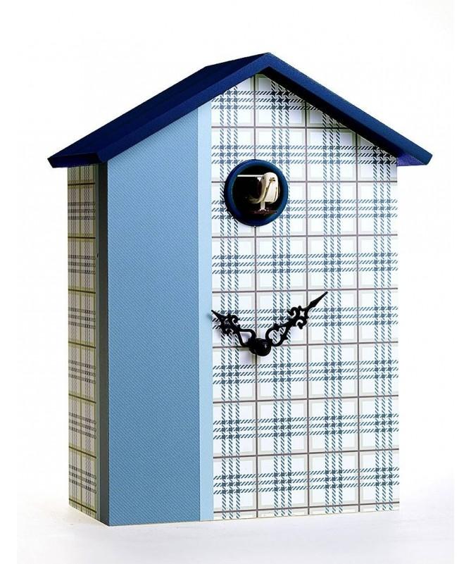 Orologio con cucù Scozzese denim stampa su mdf di colore azzurro Made in Italy
