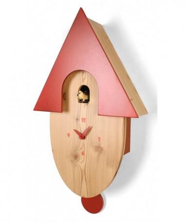 Orologio con cucù Natural in larice massello e tetto laccato rosso Made in Italy