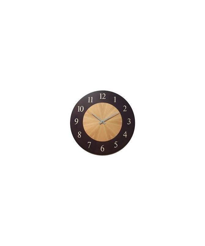 Orologio da parete Teseo intarsiato in diverse essenze Made in Italy