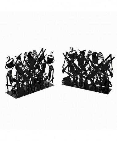 Portariviste in metallo con posate - set da 2 nero