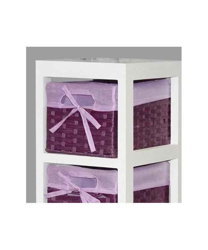 Cassettiera Lisa in legno e stoffa con 6 cassetti