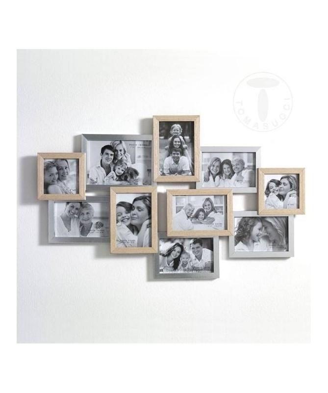 Portafoto Random in legno massello e MDF con 10 spazi