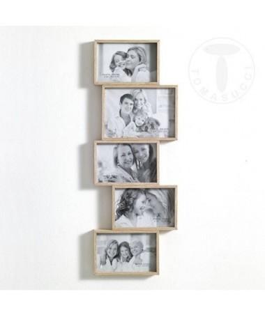 Portafoto Random in legno massello con 5 spazi