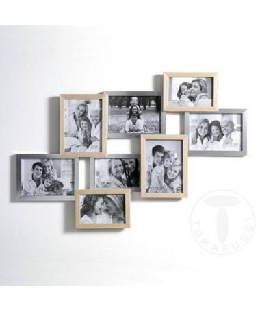 Portafoto Random in legno massello e MDF con 8 spazi