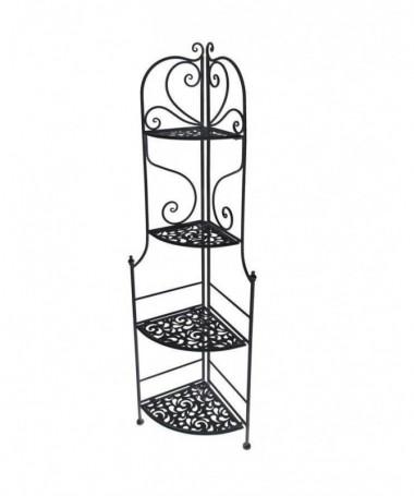 Scaffale in metallo Jessica ad angolo con quattro ripiani - nero
