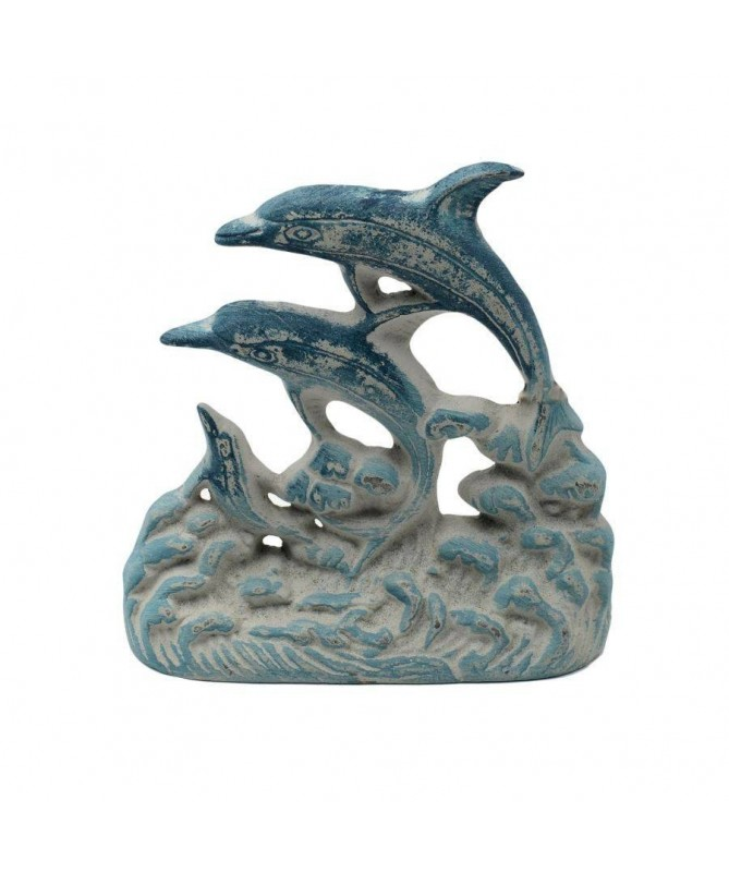 Fermaporta Mare con delfini in ghisa - set da 2