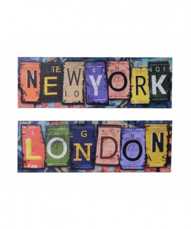 Quadri in legno stampa New York London - set da 2