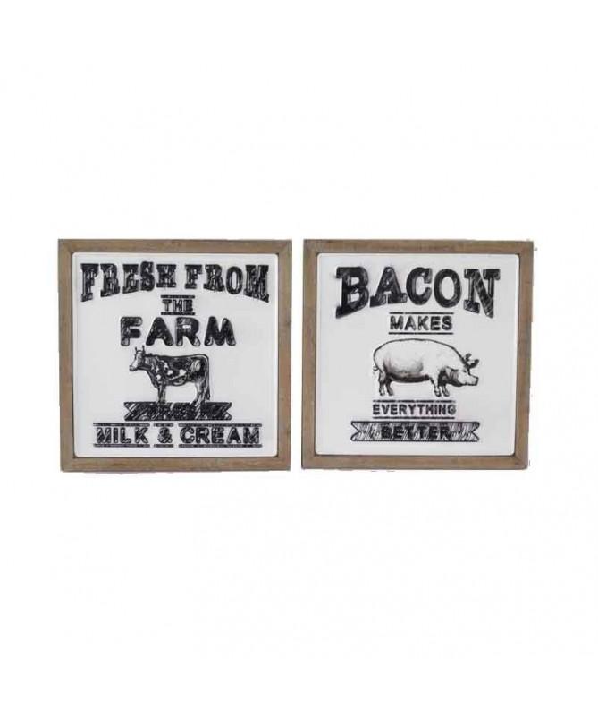 Quadri in legno e metallo Milk Bacon - set da 2