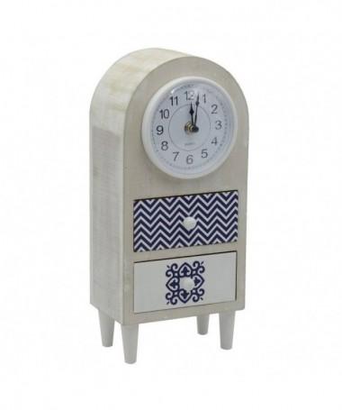 Orologio tavolo legno mare c/2 cassetticm14,5x10h32