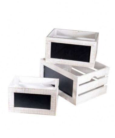 Cassette in legno sbiancato - 3 pezzi