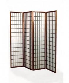 Separè paravento 4 ante Carta di riso con struttura in legno - noce