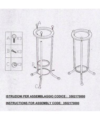 Portaombrelli in acciaio cromato e legno