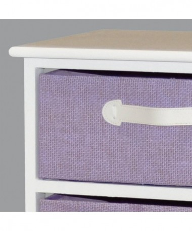 Cassettiera Iris in legno e stoffa con 5 cassetti