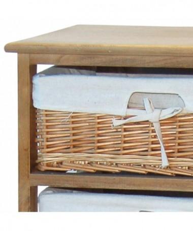 Cassettiera Elena in legno e vimini con 3 cassetti