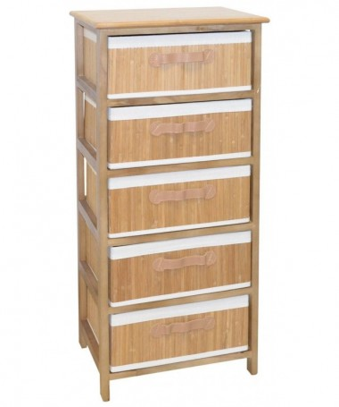 Cassettiera Nora in bamboo con 5 cassetti