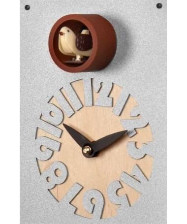 Orologio con cucù Casetta cassa metallo e quadrante betulla Made in Italy