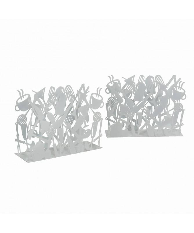 Portariviste in metallo con posate - set da 2 bianco