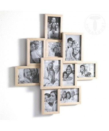 Portafoto Random in legno massello con 10 spazi