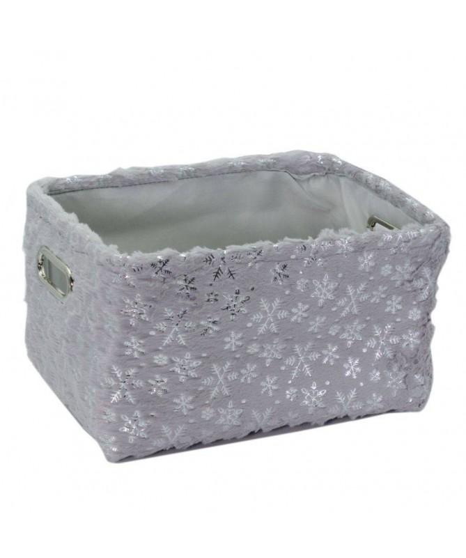 Cesta in tessuto con fiocchi di neve - grigio