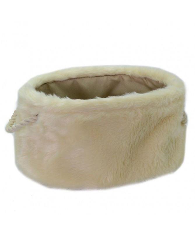 Cesta in tessuto peloso ovale - crema