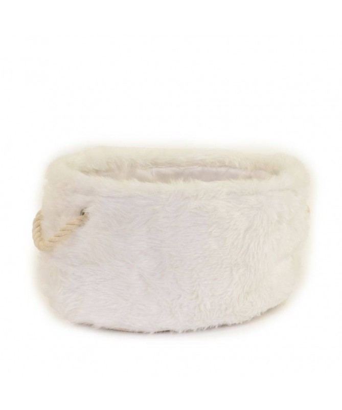 Cesta in tessuto peloso ovale - bianco