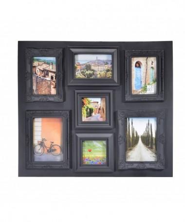 Portafoto in legno da muro con 7 spazi foto - nero