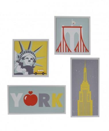 Quadri in legno New York - set da 4