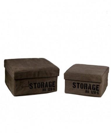 Scatola quadrata in tessuto Storage - set da 2 marrone