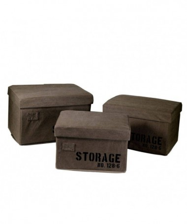Scatola rettangolare in tessuto Storage - set da 3 marrone
