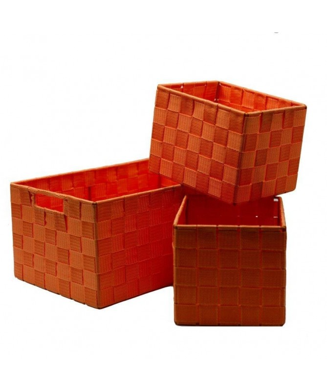 Cassetto in poliestere - set da 3 arancione