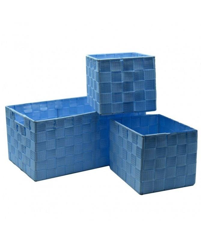 Cassetto in poliestere - set da 3 azzurro