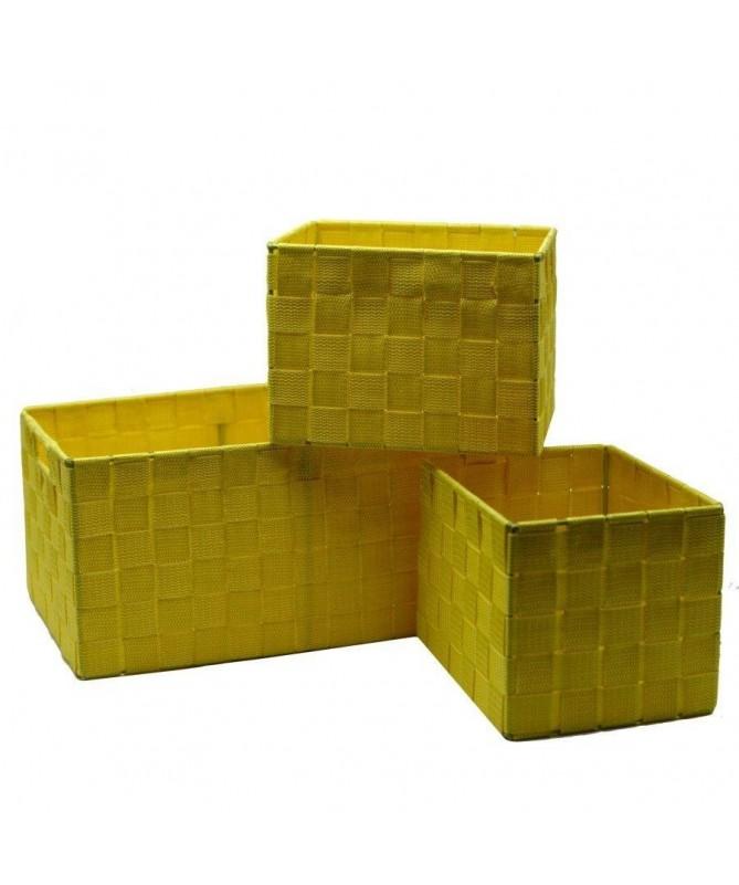 Cassetto in poliestere - set da 3 giallo