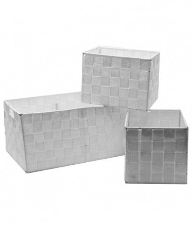 Cassetto in poliestere - set da 3 bianco