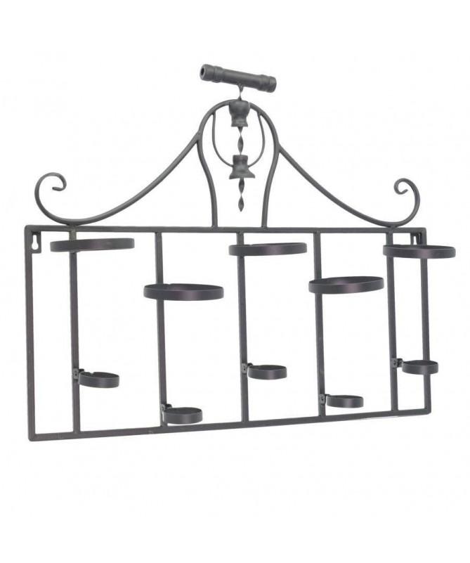 Portabottiglie in metallo con 5 spazi - nero